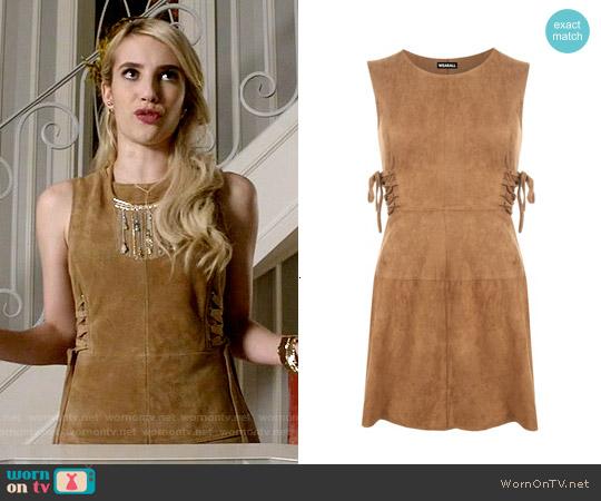 Topshop Suede Tie-Side Dress worn by Emma Roberts on Scream Queens