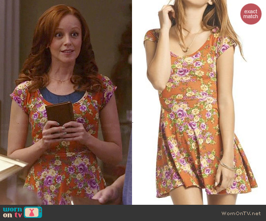 Wet Seal Floral Cutout Back Skater Dress worn by Lindy Booth on The Librarians