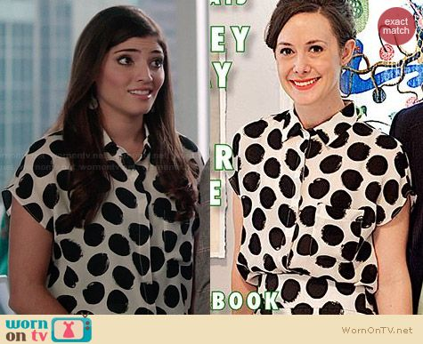 Whit NY Polka Dot Blouse worn by Amanda Setton on The Crazy Ones