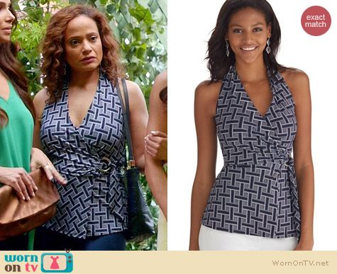 White House Black Market Basket Weave Printed Halter Top worn by Judy Reyes on Devious Maids