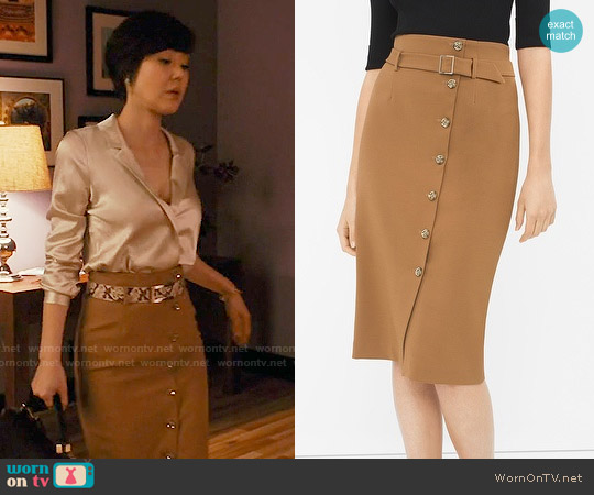 White House Black Market Button Front Pencil Skirt worn by Yunjin Kim on Mistresses