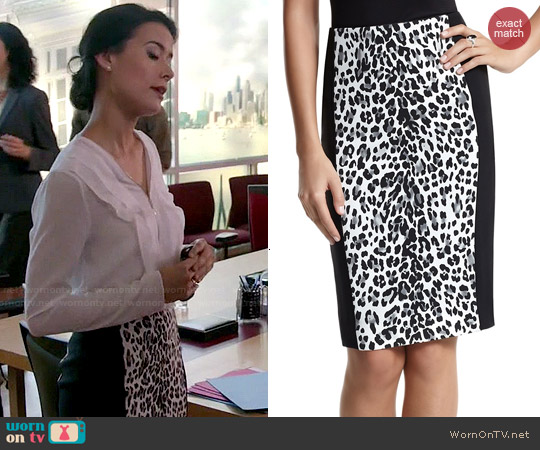 White House Black Market Leopard Stripe Pencil Skirt worn by Raquel Avila on Chasing Life