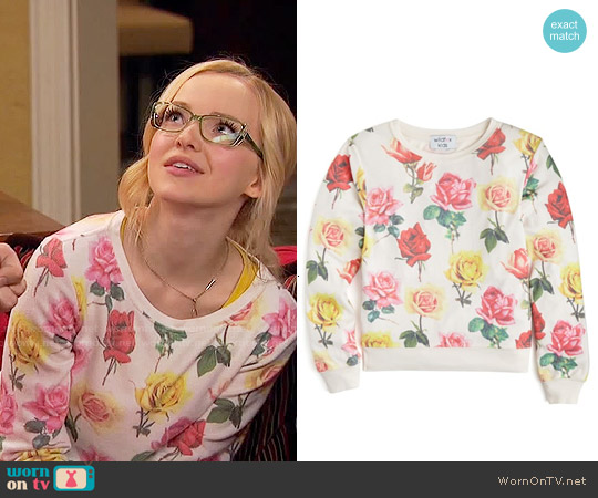 Wildfox Girls' Bright Roses Baggy Beach Jumper worn by Dove Cameron on Liv & Maddie