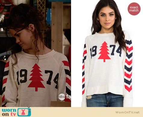 Wildfox 1974 Nantucket Sweater worn by Maia Mitchell on The Fosters