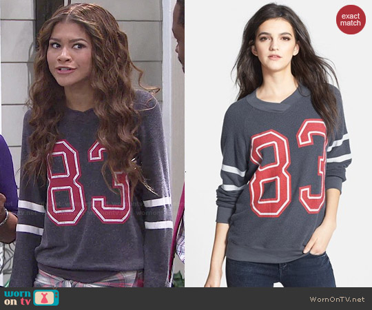 Wildfox 'Sporty School Girl' Raglan Sweatshirt worn by Zendaya on KC Undercover