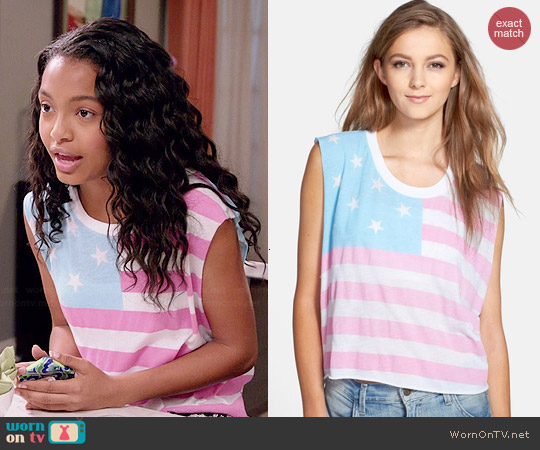 Wildfox American Baby Chad Tank worn by Yara Shahidi on Black-ish