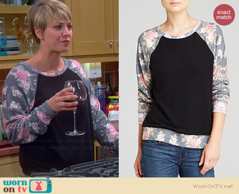Wildfox Black Rose Pullover worn by Kaley Cuoco on The Big Bang Theory