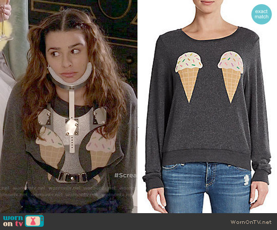 Wildfox Dream Of Ice Cream Graphic Top worn by Lea Michele on Scream Queens