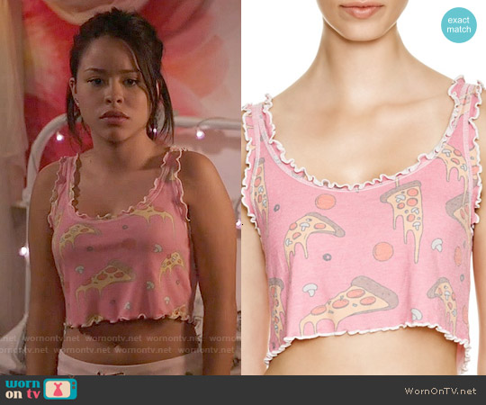 Wildfox Extra Cheese Cropped Cami worn by Cierra Ramirez on The Fosters