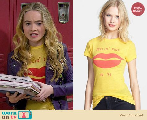 Wildfox Fine Lips Skinny Tee worn by Sabrina Carpenter on Girl Meets World