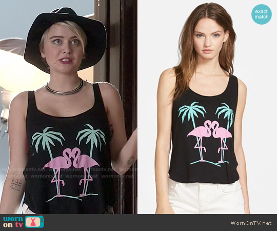 Wildfox Flamingo Lovers Tank worn by Jordan Hinson on Kevin from Work