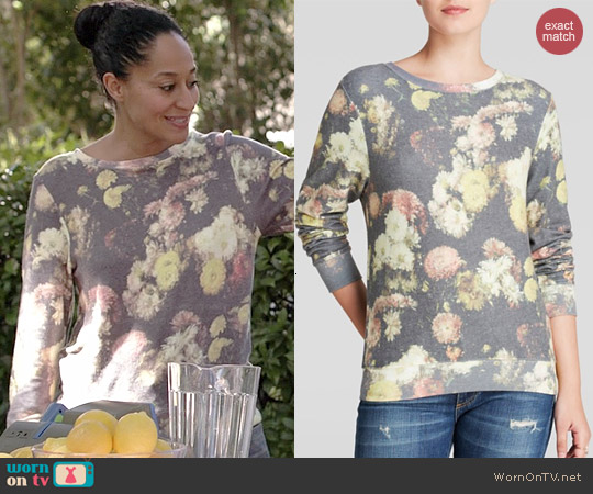 Wildfox Floral Sublimated Pullover worn by Tracee Ellis Ross on Black-ish