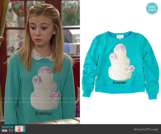 Wildfox Girls' Breakfast Sweatshirt worn by G. Hannelius on Dog with a Blog