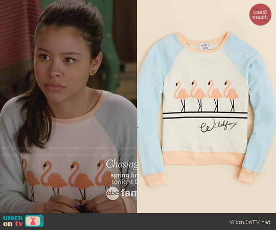 Wildfox Flamingo Baggy Beach Jumper worn by Cierra Ramirez on The Fosters