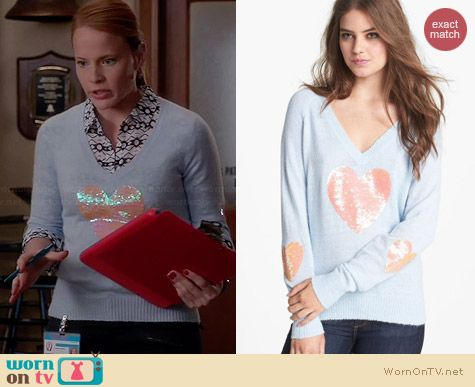 Wildfox Happy Heart Sequin Sweater worn by Katie Leclerc on Switched at Birth
