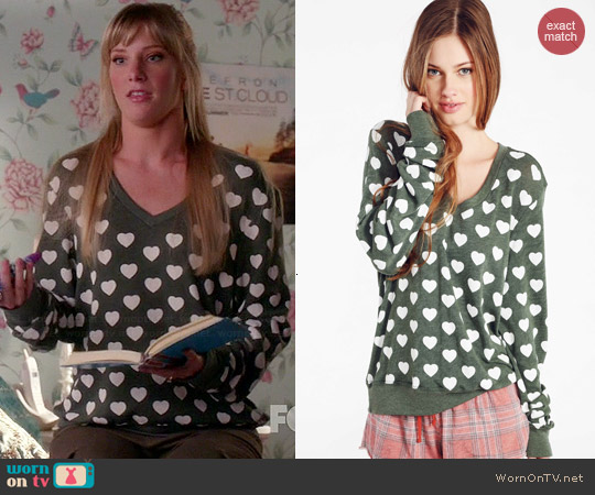Wildfox Little Hearts V-neck Baggy Beach Jumper worn by Heather Morris on Glee