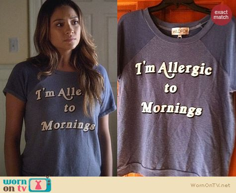 Wildfox I'm Allergic To Mornings Sweatshirt worn by Shay Mitchell on PLL