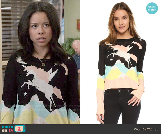 Wildfox Land Faraway Opal Sweater worn by Cierra Ramirez on The Fosters