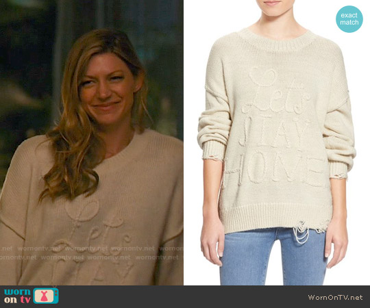 Wildfox 'Let's Stay Home' Distressed Sweater worn by Jes Macallan on Mistresses