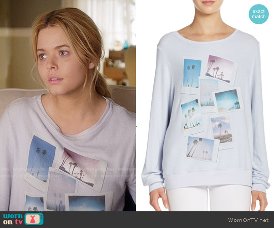 Wildfox Palm Polaroid Sweatshirt worn by Sasha Pieterse on PLL
