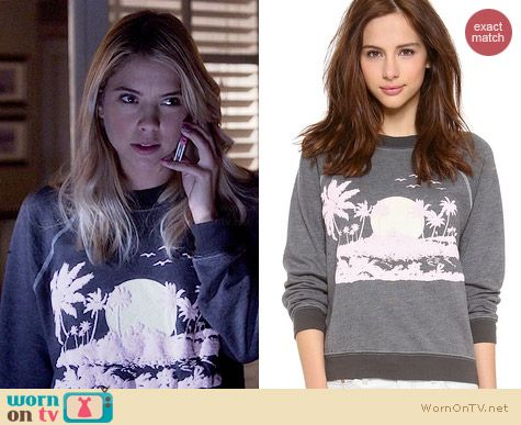 Wildfox Pink Island Sweater worn by Ashley Benson on PLL