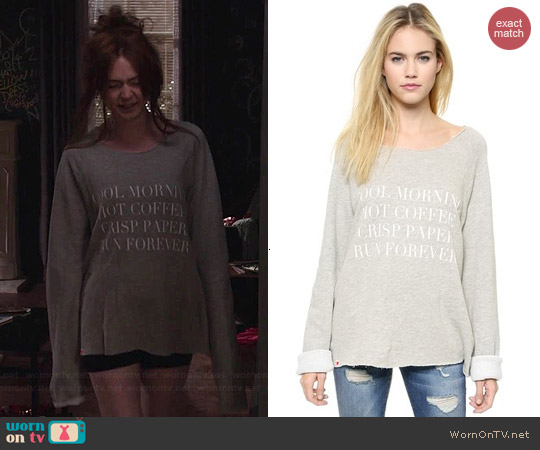 Wildfox Run Forever Sweatshirt worn by Karen Gillan on Selfie