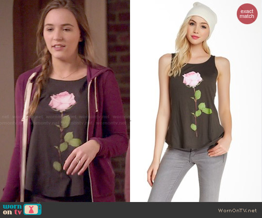 Wildfox Single Rose Tank worn by Lennon Stella on Nashville
