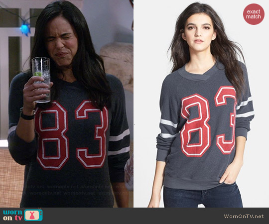 Wildfox Sporty School Girl Raglan Sweatshirt worn by Melissa Fumero on Brooklyn 99