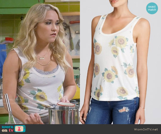 Wildfox Sunflower Scoop Neck Tank worn by Emily Osment on Young & Hungry