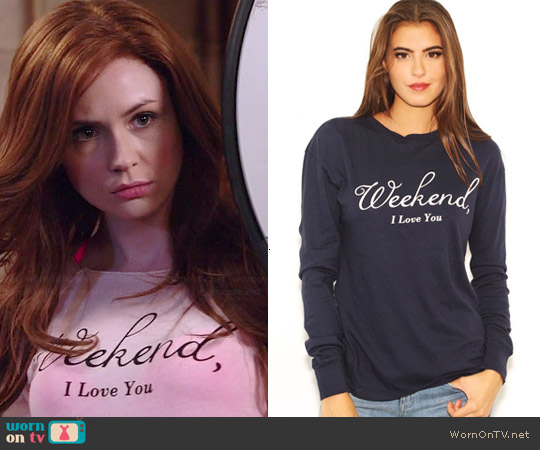 Wildfox Weekend I Love You Jumper worn by Karen Gillan on Selfie