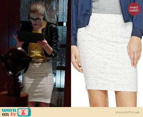 Wilfred Campagne Skirt worn by Felicity Smoak on Arrow