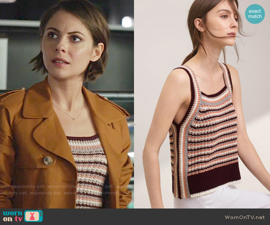 Wilfred Caumont Knit Top in Cabernet / Derma worn by Willa Holland on Arrow