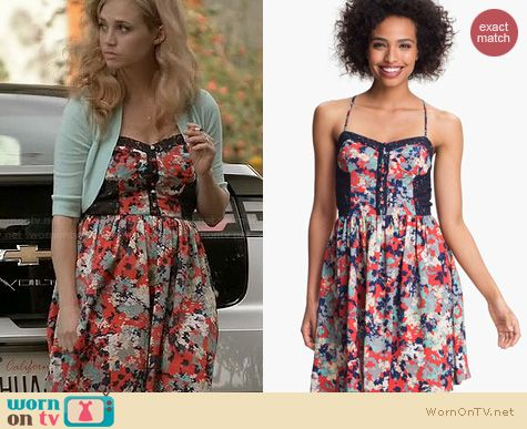 Wilfred Fashion: Betsey Johnson Floral Fit and Flare dress worn by Fiona Gaubelmann