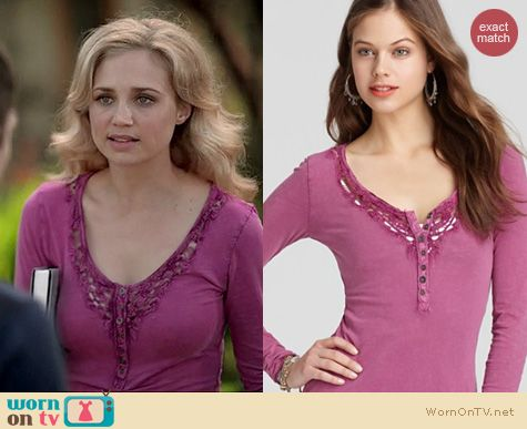 Wilfred Fashion: Free People Lou crochet henley legacy tee worn by Fiona Gubelmann