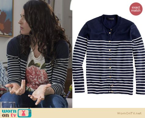 Wilfred Fashion: J. Crew Jacket Cardigan in Stripe with Anchor buttons worn by Dorian Brown