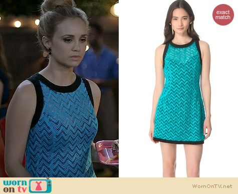Wilfred Fashion: Nanette Lepore Groovy dress in surf/licorice worn by Fiona Gubelmann