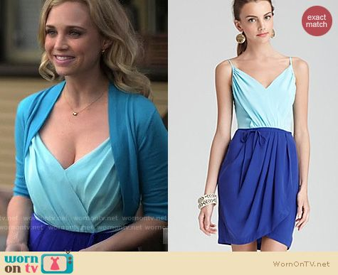 Wilfred Fashion: Yumi Kim Colorblock Silk dress worn by Fiona Gubelmann