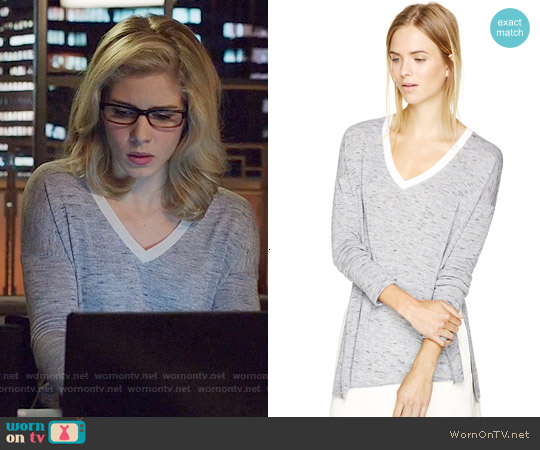 Wilfred Sherbrooke T-shirt in Heather Black / Birch worn by Emily Bett Rickards on Arrow