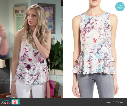 Willow & Clay Double Peplum Sleeveless Top worn by Melissa Ordway on The Young & the Restless