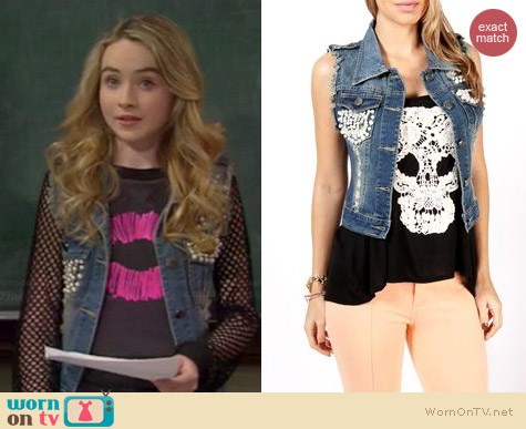 Windsor Pearl Embellished Denim Vest worn by Sabrina Carpenter on Girl Meets World