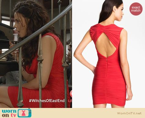 Witches of East End Fashion: BCBGMAXAZRIA Ruched Cutout Dress worn by Jenna Dewan-Tatum