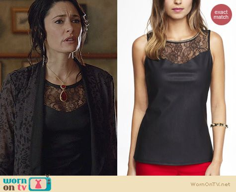 Witches of East End Fashion: Express Leather Yoke Shell Top worn by Madchen Amick