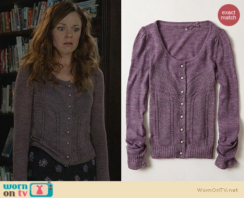 Witches of East End Fashion: Anthropologie Shimmer Palette Cardigan worn by Rachel Boston