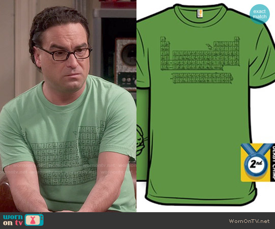 Woot Questionable Table of Elements T-shirt worn by Johnny Galecki on The Big Bang Theory