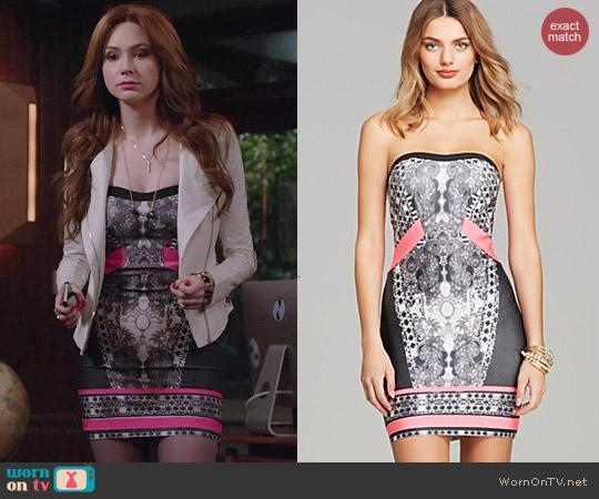 Wornontv Eliza S Black And Pink Printed Mini Dress And