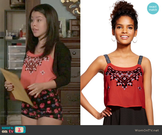 Target Xhilaration Embroidered Top worn by Cierra Ramirez on The Fosters
