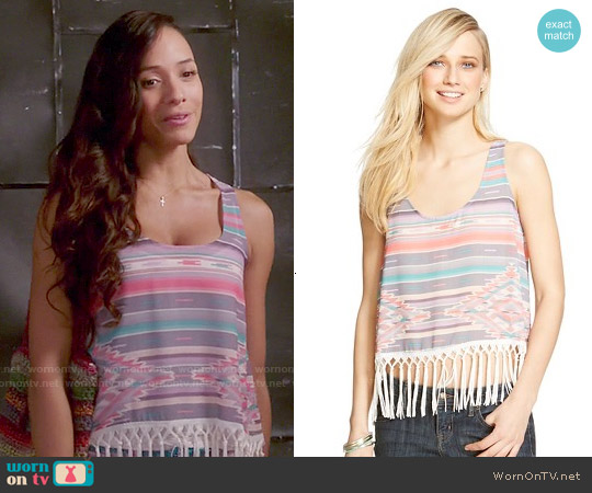 Xhilaration Wide Strap Fringe Top worn by Dania Ramirez on Devious Maids