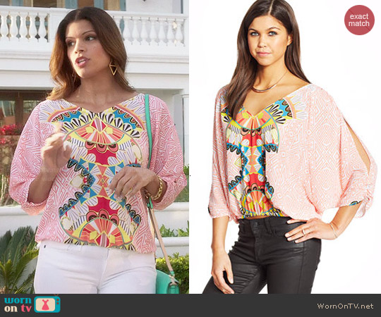 XOXO Printed Batwing Top worn by Andrea Navedo on Jane the Virgin