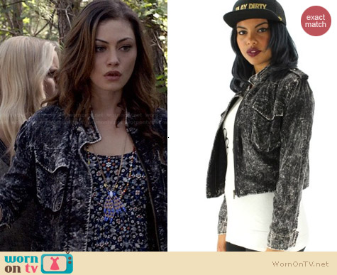 YCMC Acid Wash Biker Jacket worn by Phoebe Tonkin on The Originals