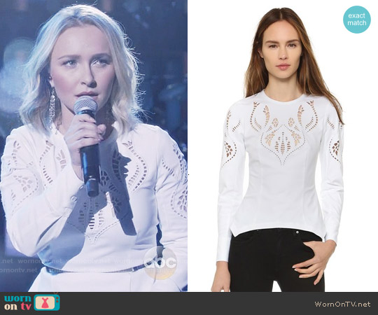 Yigal Azrouel Embroidered Peplum Shirt worn by Hayden Panettiere on Nashville